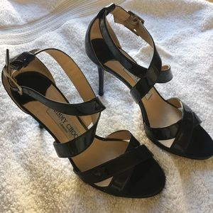 Jimmy Choo Navy Patent Leather Heels.